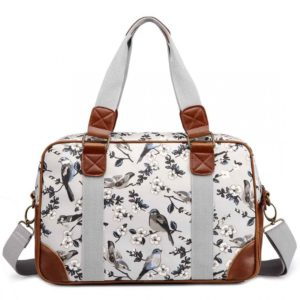 miss lulu oilcloth travel bag bird print grey