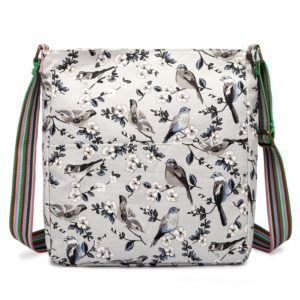 miss lulu canvas square bag bird print in grey photo