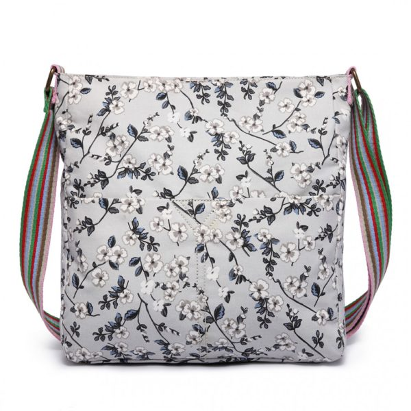 miss lulu canvas square bag flower print in gey photo
