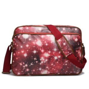 miss lulu matte oilcloth messenger bag universe red photo