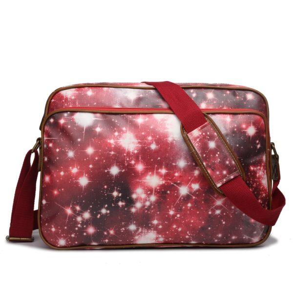 miss lulu matte oilcloth messenger bag universe red photo