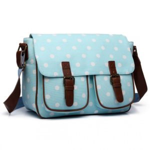 miss lulu oilcloth satchel polka dot in light blue photo