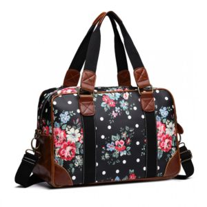 miss lulu oilcloth travel bag floral dot black photo