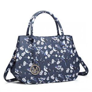 miss lulu structured matte oilcloth shoulder bag print navy photo